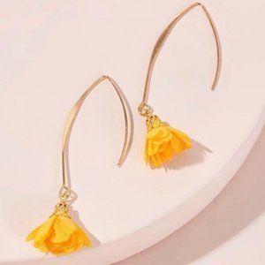 🌻YELLOW FLOWER GOLD THREADER DANGLE EARRINGS